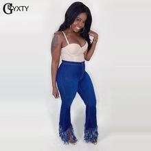 GBYXTY nowe mody Bell Botton spodnie wysokiej talii myte Tassel Bodycon Jeans kobiet rozciągliwe spodnie jeansowe spodnie Flare ZL792 tanie tanio COTTON Poliester spandex Pełnej długości Osób w wieku 18-35 lat broeken dames Styl uliczny CASUAL Zmiękczania Wysoka