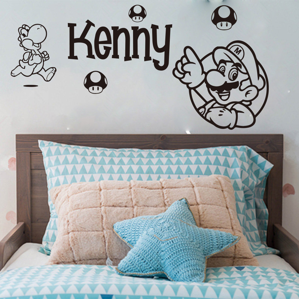 Custom Name Super Mario Bros Luige Wall Decal Game Room Playroom
