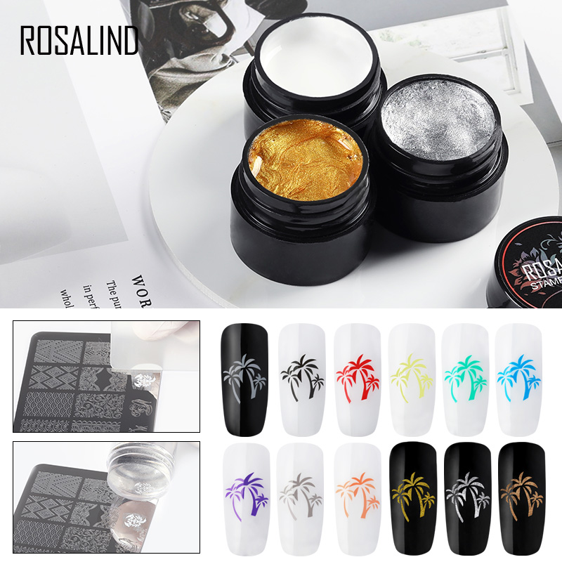 ROSALIND Gel Nail Polish Nail Art Stamping Gel Print For Manicure Nails 5ml Colors UV Decoration Stamping Gel Plate Varnish