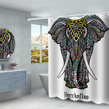 Mandala elephant cartoon elephant printed waterproof shower curtain partition curtain free punching factory direct sales c20 id waterproof direct factory card