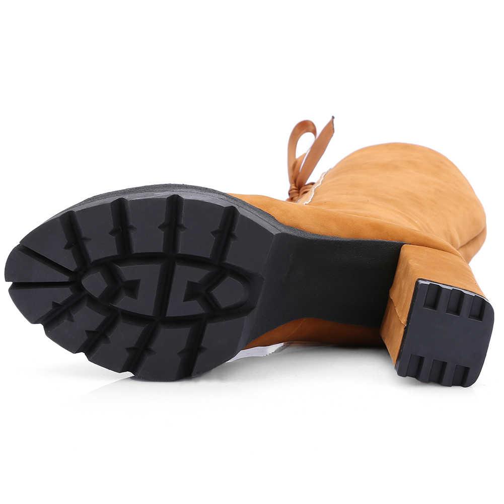 BONJOMARISA มาใหม่ 34-43 Elegant LACE-up รองเท้าผู้หญิงเซ็กซี่เข่ารองเท้าบูทสูง 2019 Super รองเท้าส้นสูงรองเท้าผู้หญิง