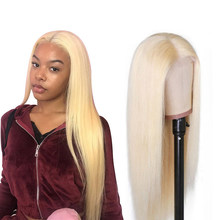 Straight 613 Blonde Lace Front Human Hair Wig For Women Brazilian Honey Blonde 13x6 Stort Bob Lace long Wig Remy Human Hair wigs(China)