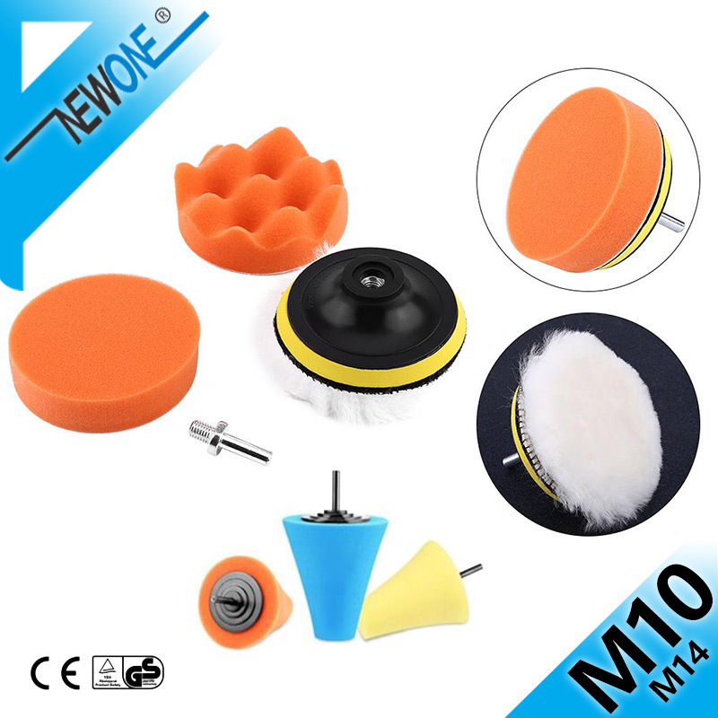 Burnishing Foam Tapered Sponge Polishing Cone Shaped,NEWONE Buffing Pad Kit Tool For Car Polisher Buffer With M10 Drill Adapter