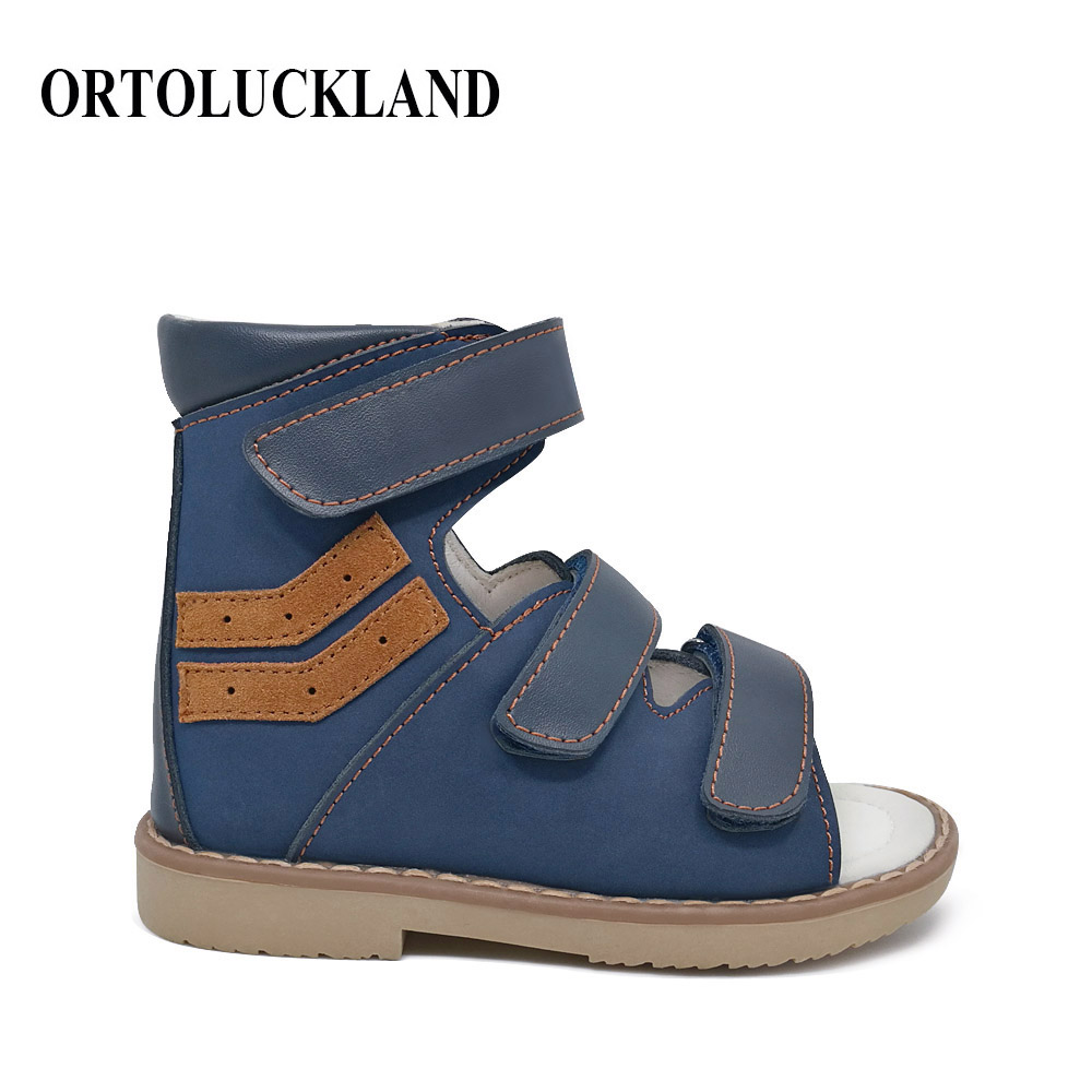 Ortoluckland Baby Boys Sandals Orthopedic Shoe For Children Clearance Sale Cow Leather Summer Sandals With Arch Support Insole