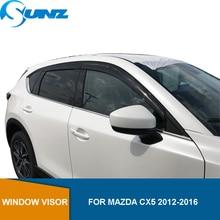 Deflector de ventana lateral para Mazda CX5 2012 2013 2014 2015 2016 visera negra parabrisas Deflector de lluvia y sol protectores SUNZ