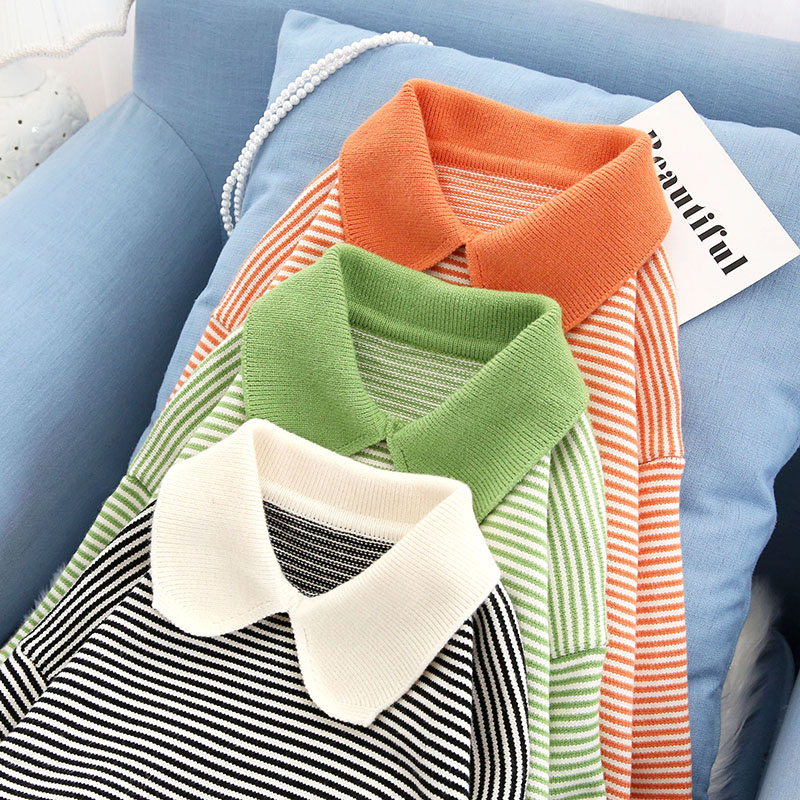 white and black striped knitted women sweater and pullovers turn-down collar loose lady elegant pulls outwear coat tops