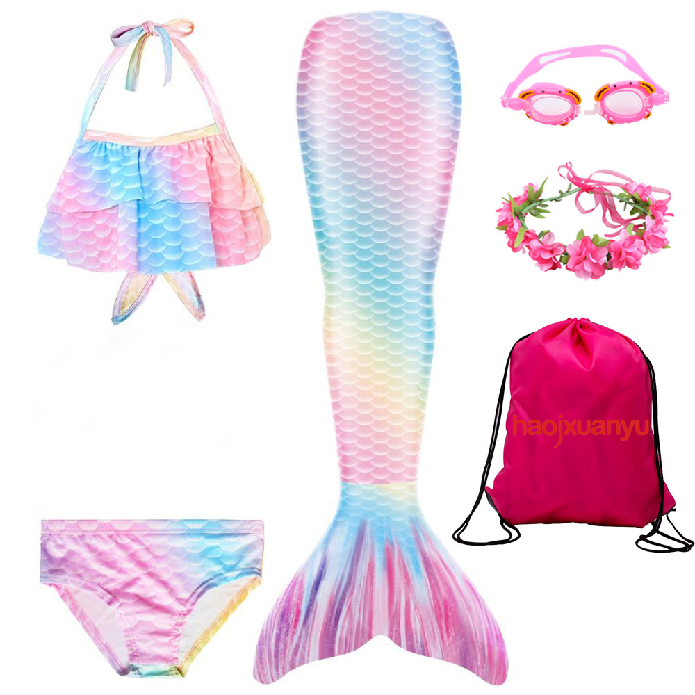 Girls Mermaid Tail Swimsuit  Colorful Swimmable Costume Cosplay Bathing Suit Set