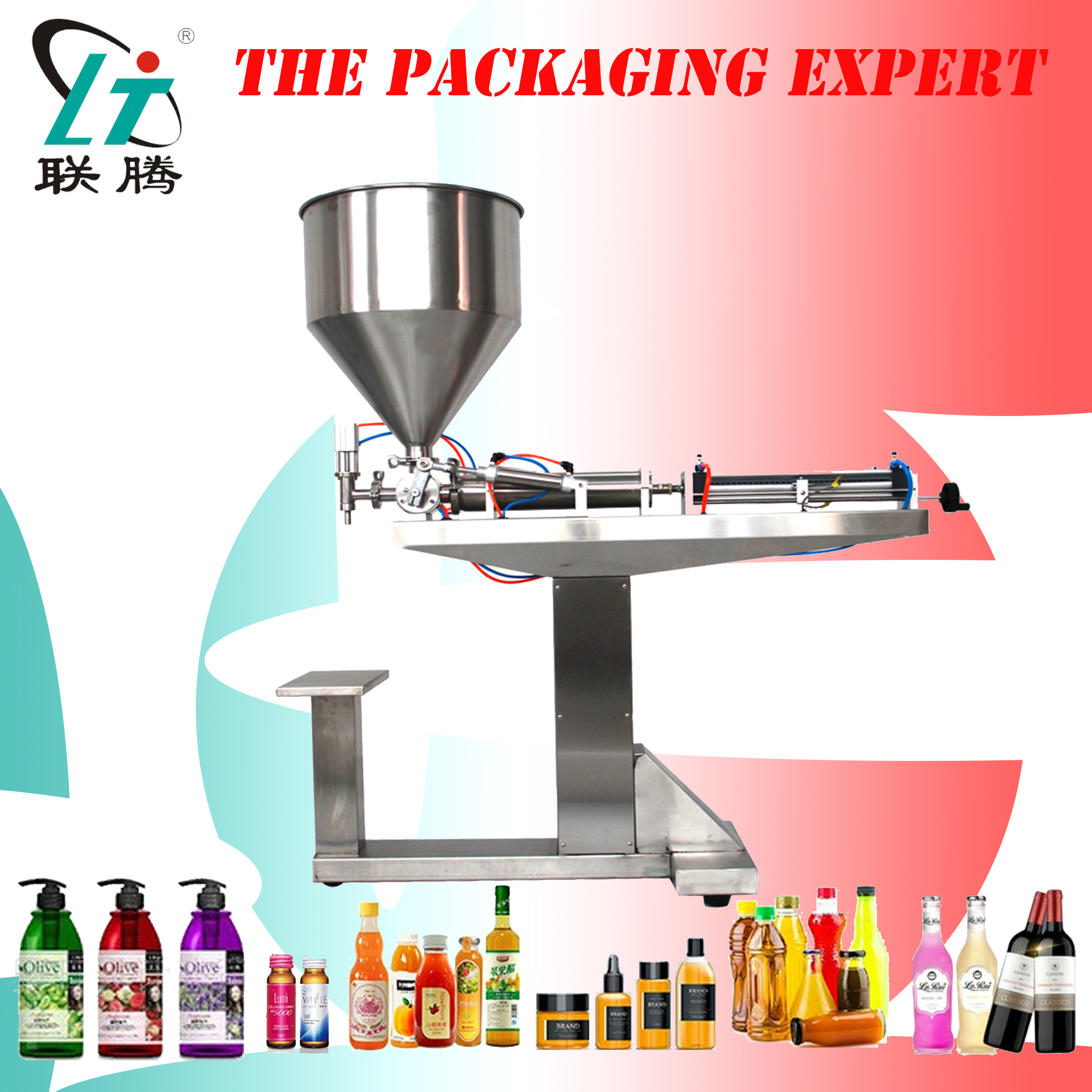 Paste Filling Machine With Stand Shampoo Lotion Cream Yoghourt Honey Juice Sauce Gel Filler Pneumatic Piston Filler With Table