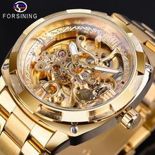 Forsining 2018 mode rétro hommes automatique mécanique montre haut marque de luxe plein or Design lumineux mains squelette horloge