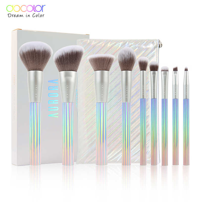 Docolor 9 Pcs Nieuwe Make-Up Kwasten Set Professionele Beauty Make Up Borstel Synthetisch Haar Foundation Poeder Blushes Brush Met Zak