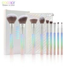 Docolor 9pcs New Makeup brushes set Professional Beauty Make up brush Synthetic Hair Foundation Powder Blushes Brush with Bag