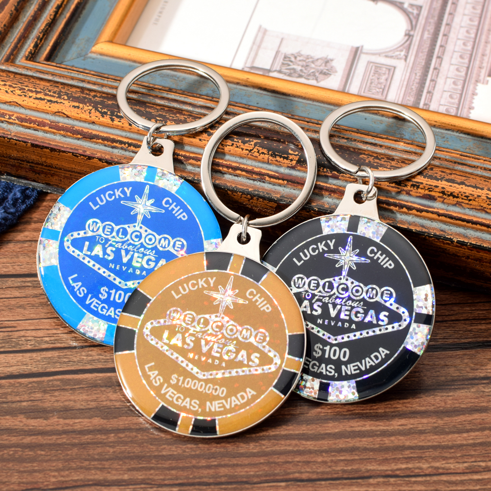 Vicney Las Vegas Letter Keychain For Women Men Lucky Chip Keychain Black Blue $1000000 Chip Keyring Gift Casino Souvenir