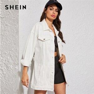 Image 3 - SHEIN blanco lavado con cinturón chaqueta de mezclilla abrigo mujer otoño primavera Turn down Collar sólido abotonado Casual chaquetas Outwear
