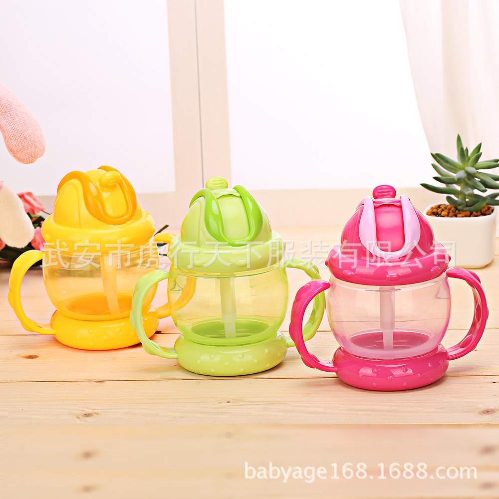 Infant Drum-Shaped Handle Infant Sippy Cup Children Straw Kettle Baby Drinking Cup Training Cup