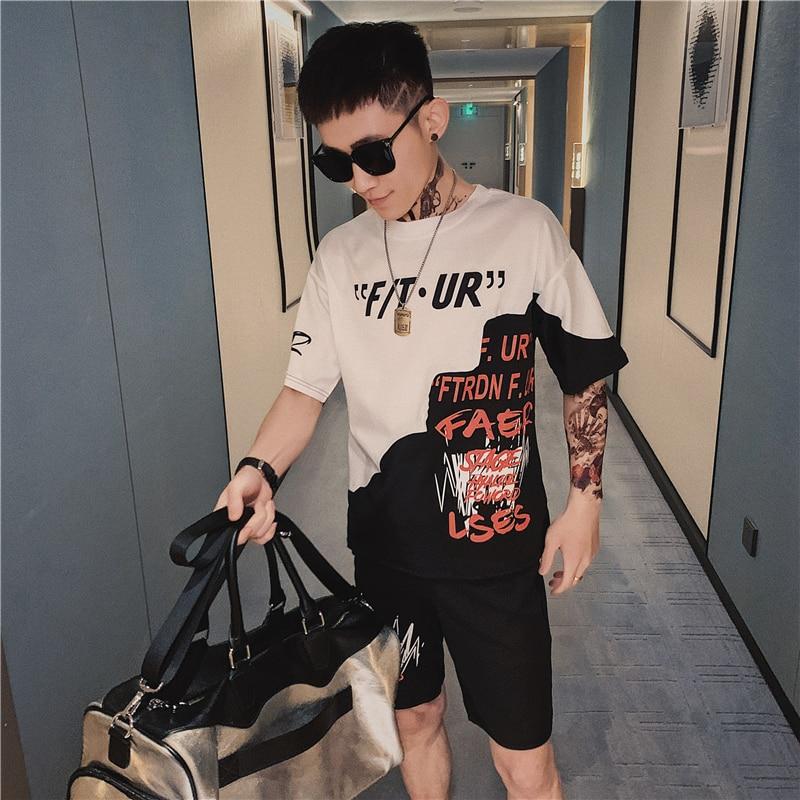 Sport Suit Men 2020 Summer New Hip-hop Jogging Fashion Suit Round Neck Short Sleeve T-shirt + Pants Fashion Suit Hip-hop Trend