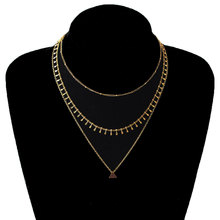Personality Multilayer Chain Choker Necklace Pendants Beads Triangle Gold Silver Long Statement Necklaces for Women silver multilayer chain necklace