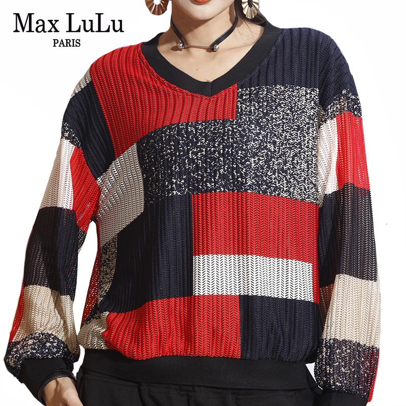 Max LuLu New 2020 Spring Luxury Korean Ladies Punk Tops Chiffon Blouses Womens Knitted Cotton Loose Shirts Casual V Neck Clothes