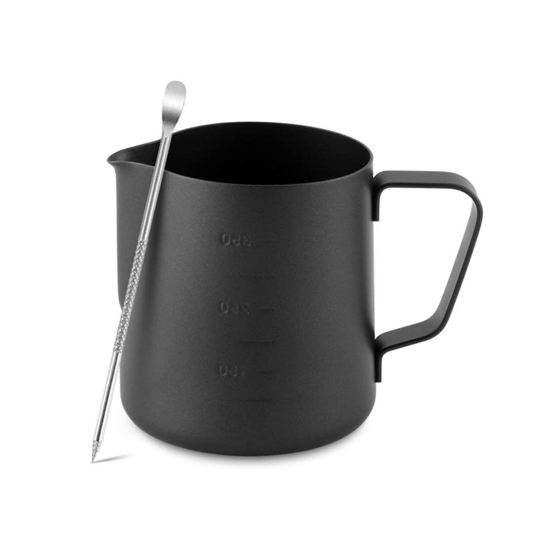 Stainless Steel Milk Frothing Pitcher for Macchiato Cappuccino Latte Art,Include Latte Art Pen,Coffee Milk Frother,350ML