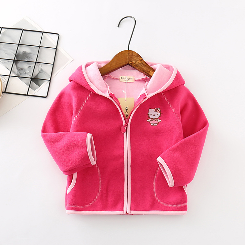 New Spring Autumn Girls&Boys Fleecy fleece Hooded children's coat  Baby Kids Coats Jacket Clothing Outwear