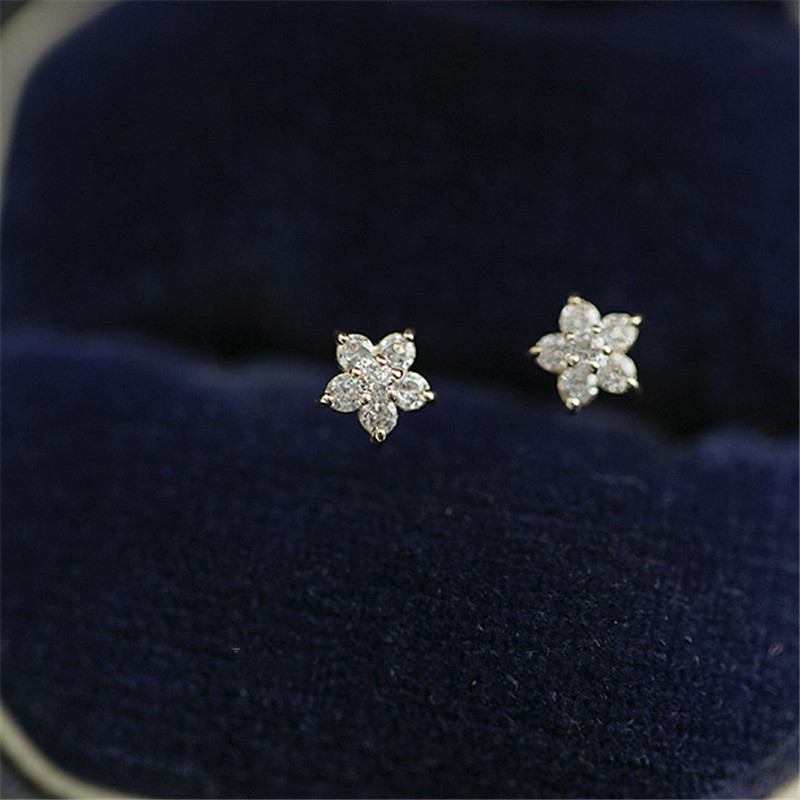 Sterling Silver Plated 14k Gold Crystal Five Pointed Star Earrings Women Simple Fashion Wedding Jewelry Accessories Goldpacked Gold Plated Gifts Shop