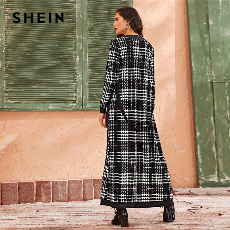 SHEIN Black And White Double Pocket Side Belted Long Coat And Pants Elegant Set 2019 Autumn Streetwear Plaid Ladies Suit Sets 2