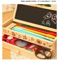 South Korea Cute Multi functional Stationery Box Large Capacity Simple Pencil Box Wooden DIY Small Blackboard Pencil Case