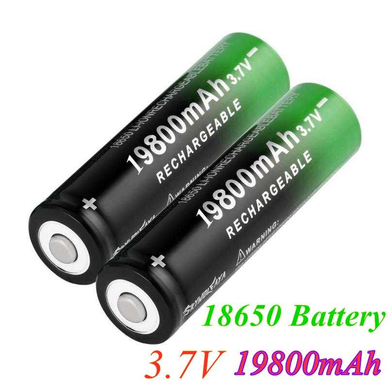 100% novo 18650 3.7v 19800mah bateria li-ion baterias de lítio recarregável para lanterna farol eletrônico brinquedo transporte da gota