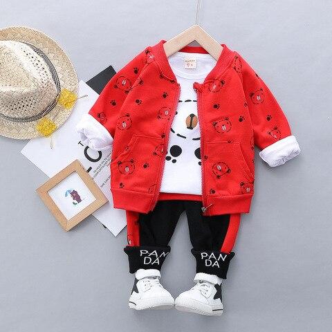 crianca do bebe menino roupas casuais conjunto urso dos desenhos animados com ziper casaco roupas