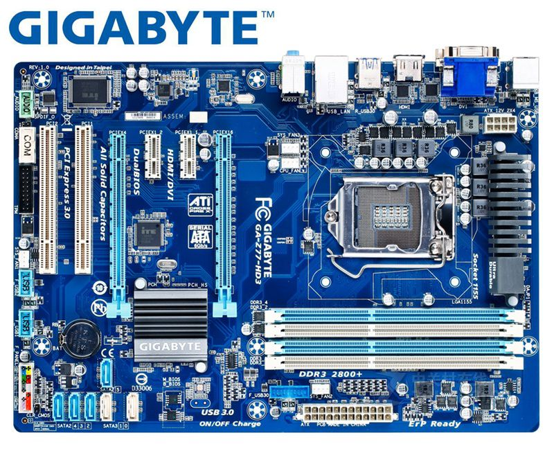 Gigabyte GA-Z77-HD3 Original Mainboard  DDR3 LGA 1155 Z77-HD3 USB2.0 USB3.0 32GB SATA III Z77 Used Desktop Motherboard