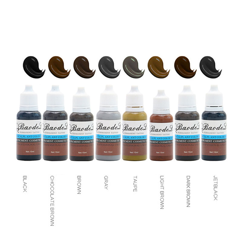 Microblading Pigment 8 Colours 15ml Tattoo Ink Makeup Eyebrow Inks Lips Eye Line Tattoo Color Eyebrow Tattoo Color Inks