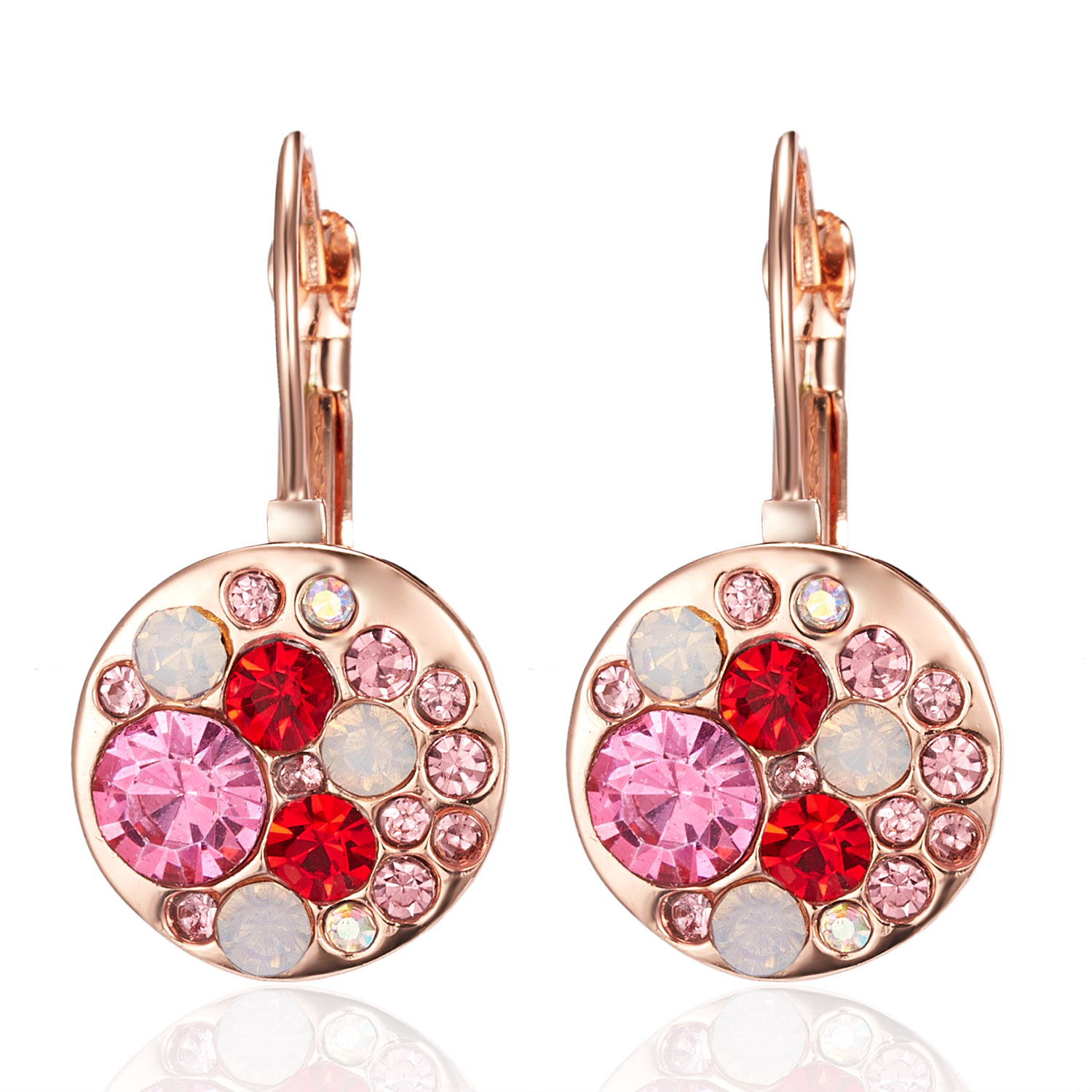 Luxury Crystal Female Small Round Stud Earrings Colorful Pink Red Rhinestone Zircon Stone Earrings Gold Color Wedding Jewelry