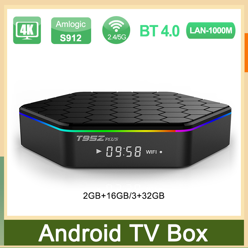 ТВ-приставка T95Z PLUS, Amlogic S912, Android 7,1, 4K, медиаплеер, поддержка FULL HD, BT, двухдиапазонный Wi-Fi, H.265, Смарт ТВ-приставка