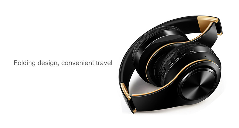 Foto from the left Wireless foldable headphones with mic. Foldable wireless earphones for mp3