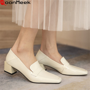 MoonMeek Ladies High Heels Shoes Genuine Leather Women Pumps Thick Heels Square Toe Spring Summer 3 Colors Office Dress Shoes