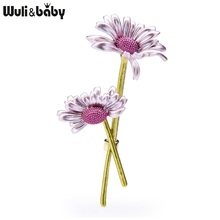 Wuli&baby; New Design Enamel Daisy Flower Brooches Women 4-color Weddings Flower Casual Office Brooch Pins Gifts