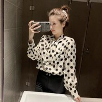 New Style Korean style Polka Dot Lace up Bow Online Celebrity Underwear Shirt Tops Women's CHIC Loose Fit Shirt