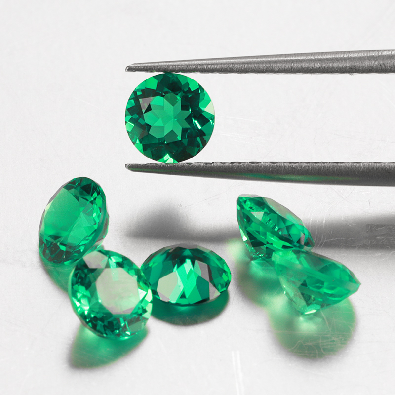 Starszuan 10mm green hydrothermal emerald round shape gemstone beutiful color for fashion jewelry making