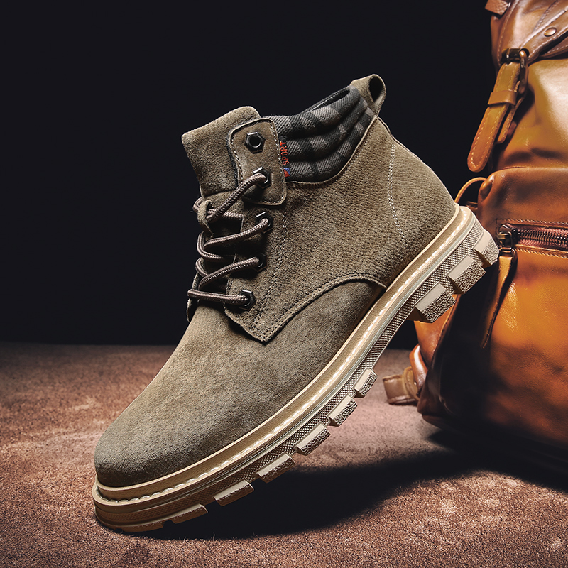 2019 High Quality Fashion Autumn Winter Men's Boots Warm Working Boots Lace Up Men's Desert Boots Round Toe High Top Shoes