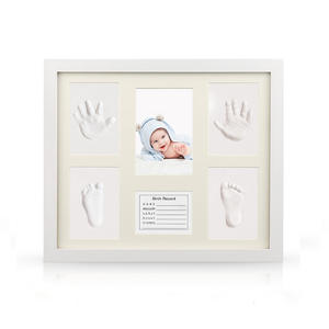 Desk-Decoration-Tool Crafts Handprint Photo-Frame Footprint-Kit Memory Gift Wooden Baby