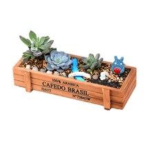 ANGRLY Vintage rectángulo de madera suculenta planta flor carnosa cama bote, caja jardín maceta suculentas decoración de la boda