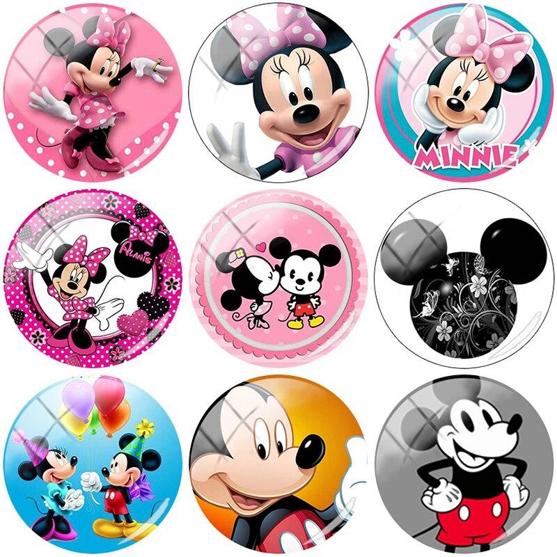 TAFREE Cute cartoon Mickey Mouse 12/15//16/18//20//25 mm Glass Cabochon Dome Flat Back DIY Jewelry Making TQ193(China)