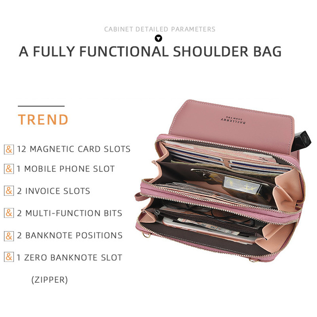 Baellerry Women Wallet Double Zipper Summer Female Shoulder Bag Top Quality Cell Phone Pocket Bags Fashion Crossbody Bags 5