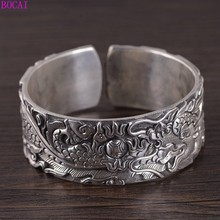 100% Real  S999 pure silver retro Thai silver hand engraved good luck dragon auspicious moiré wide version men open bracelet