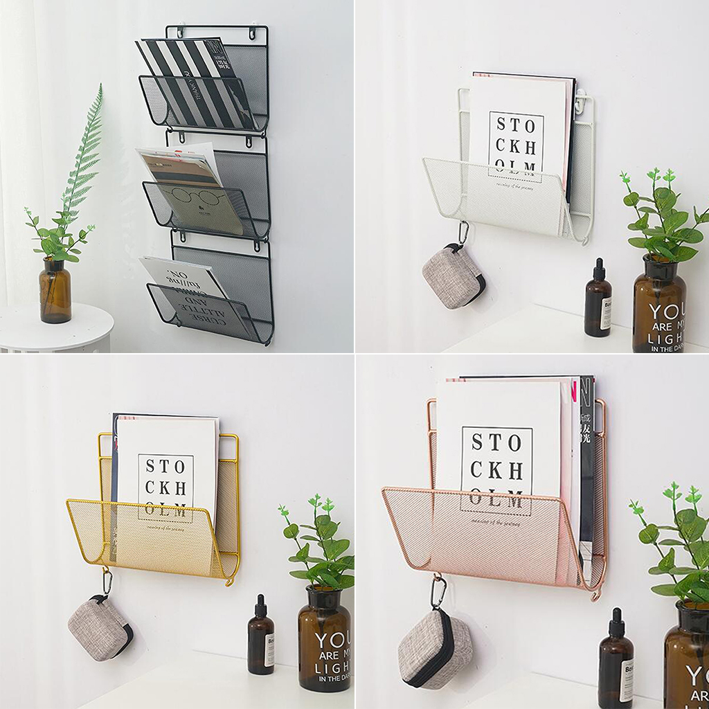Wall Mount Bathroom Magazine Rack Holder Newspaper Book Shelf Small Organizer