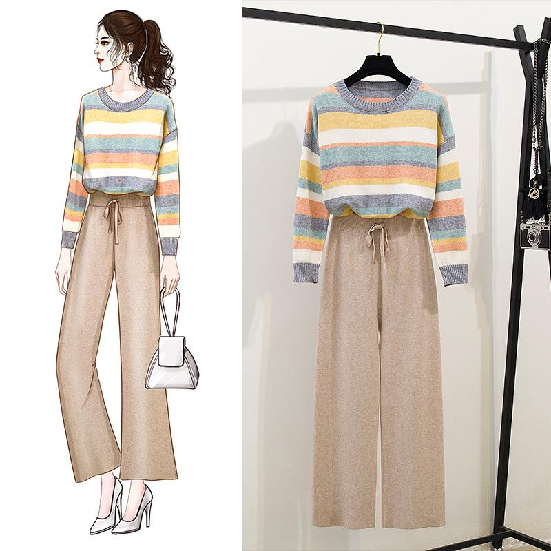 ICHOIX Rainbow Sweater Cute Knitted 2 Piece Set Women Wide Leg Pants Set Casual Korean Two Piece Outfits 2PCS Girl Set Clothing