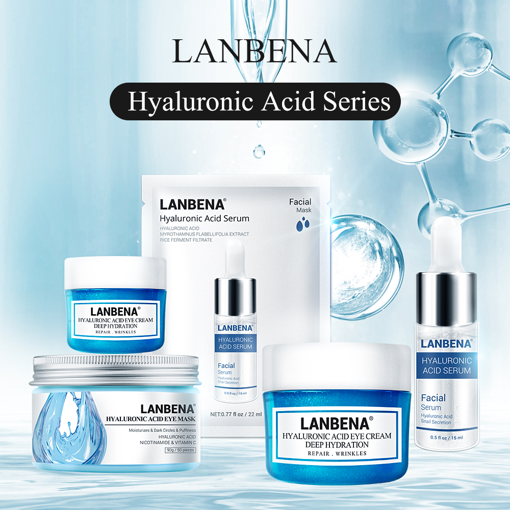 Lanbena Hyaluronic Acid Series Face Mask Skin Care Eye Mask Sheet Mask Face Serum Face Cream Face Care Sets Moisturizing Skin
