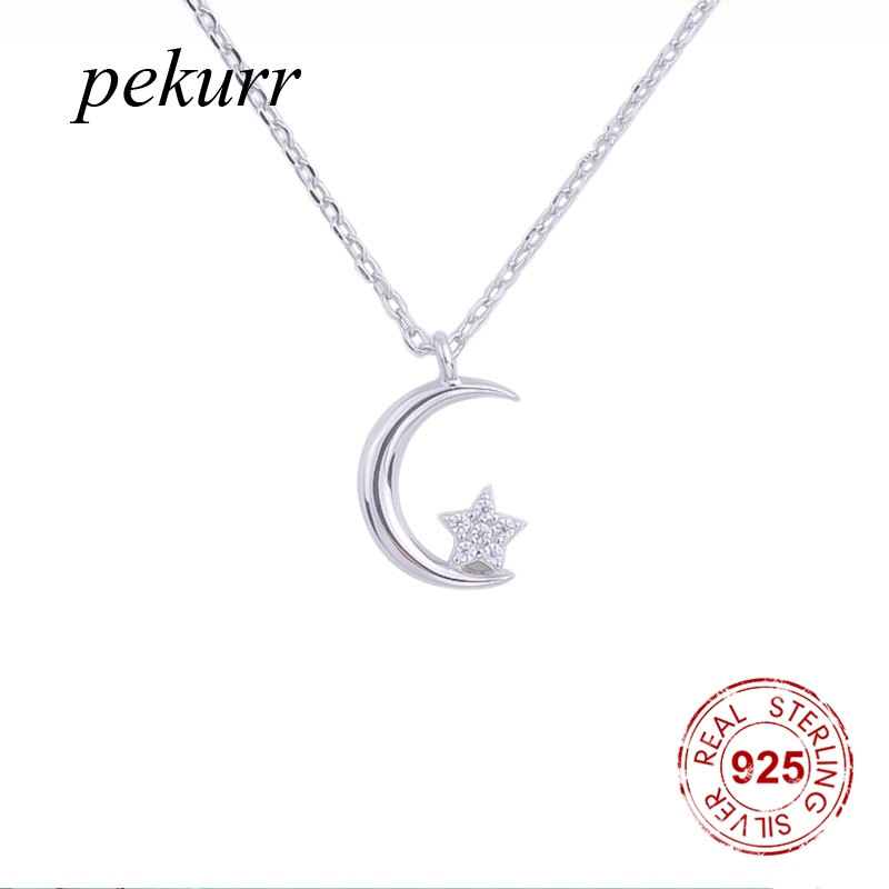 Pekurr 925 Sterling Silver Crescent Moon Necklaces For Women Zircon Star Pendants Choker Accesories Fashion Jewely