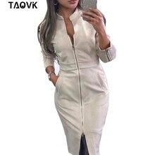 TAOVK delle Donne del Vestito A Maniche Lunghe Aderente Chiusure Lampo Dellannata Del Collare Del Basamento delle donne Ufficio Abiti