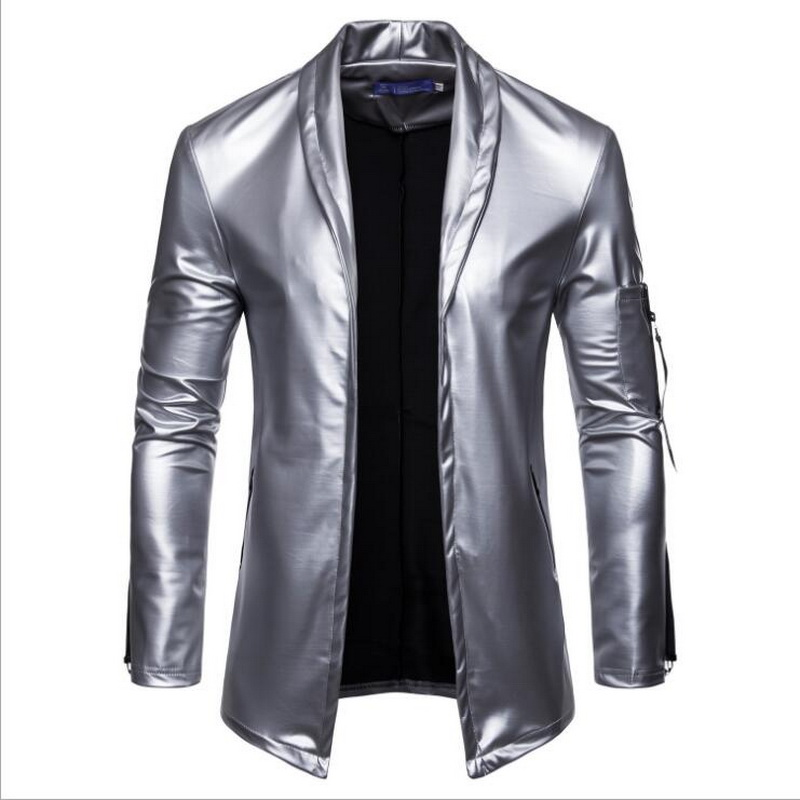 Image 4 - Night Club Leather Jacket Men New Fashion Slim Fit Motorcycle Leather Jacket Golden/Silver Blazer Jacket Male Leather Coat-in Faux Leather Coats from Men's Clothing