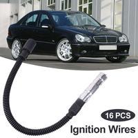 16 pces fio de ignição de alta tensão 10.2mm spark plug cabo de fio de ignição conjunto para mercedes benz c classe e classe ml acessório do carro|Bobina de ignição| |  -